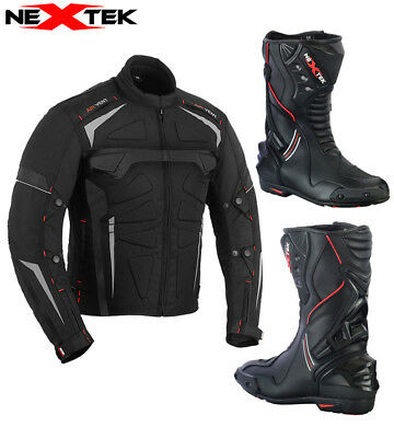 Motorcycle Motorbike Waterproof Jacket Coat Biker Leather Boot Touring Shoes