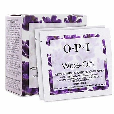 100 X OPI Wipe Off! ACETONE FREE Lacquer Remover Wipes **Great for Travel**