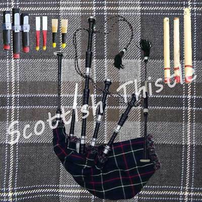 Scottish Great Highland Bagpipes Silver Amounts/Highland Bagpipe with Tutor Book