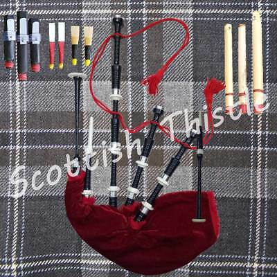 New Great Scottish Bagpipe Black Color Half Set With Tutor Book/dudelsack/gaita