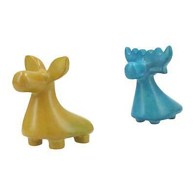 A pair of soapstone deer / moose sculptures Modern Yellow & blue