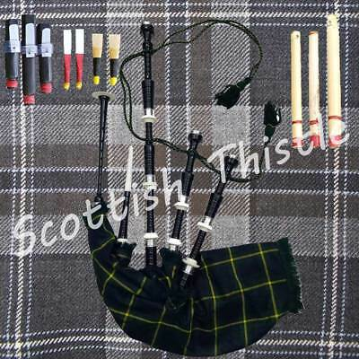 SCOTTISH BAGPIPE BLACK COLOR HALF SET WITH TUTOR BOOK/DUDELSACK/GAITA/Cornemuse