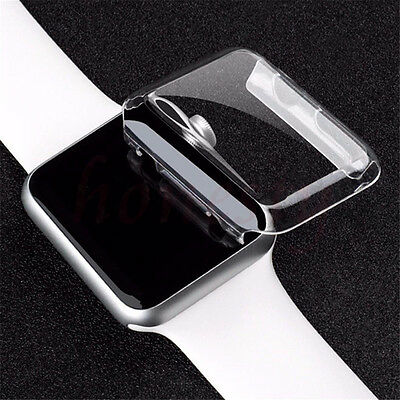 Transparent Clear Screen Protector Clip On Case Cover For Apple Watch 38 & 42mm