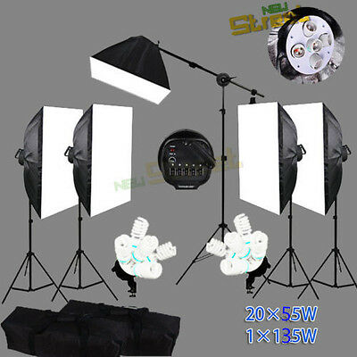 5250W Photo Studio Continuous Light Soft Box Softbox Boom Arm Stand Lighting Kit