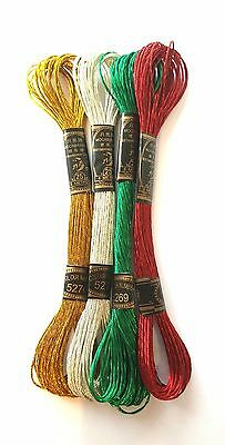Metallic Embroidery Floss 4 x 8m Skeins Red Gold Silver Green Trimits Christmas