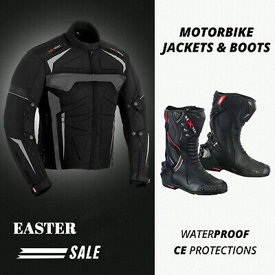 Textile Waterproof Motorbike Motorcycle Sport Jacket Biker Armoured Leather Boot