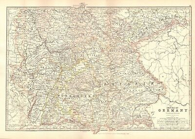 1880 Antique Map - Empire Of Germany, Southern Portion
