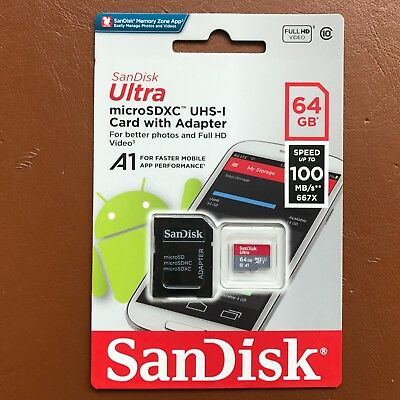 NEW Sandisk Ultra 100MB/s 64GB Micro SD SDXC Class 10 Memory Card + SD ADAPTER