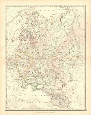 ANTIQUE 1880 EUROPEAN Russia In Europe Poland Caucasus Black Sea ...