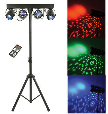 QTX FXB-1 Portable 3-FX-IN-1 LED Light DMX Lighting Gig Bar System + Bags Remote
