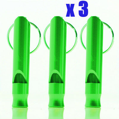 3 GREEN Aluminium Metal Whistle Dog Training Recall Obedience Outdoor Survival