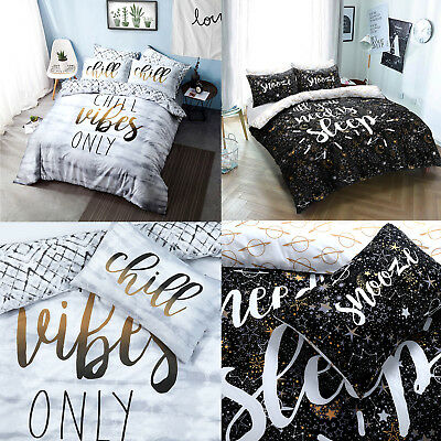 Slogan Duvet Cover Set With Pillow Cases King Size Double Single Super Bedding