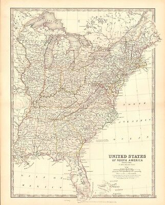 1880 Antique Map - United States, Eastern States