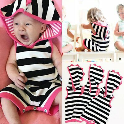 Newborn Baby Hooded Stripe Sleeveless Romper Jumpsuit Bodysuit Clothes Outfits