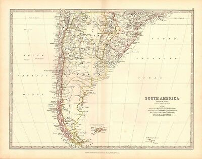 1880 Antique Map - South America, Southern Sheet