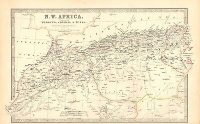 1880 Antique Map - North West Africa, Morocco, Algeria, Tunis