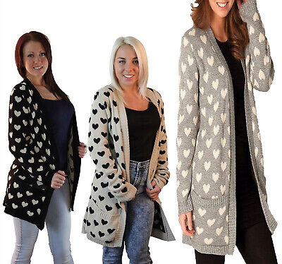 Womens Knitted Long Sleeve Multi Heart Cardigan Ladies Open Front Winter Sweater
