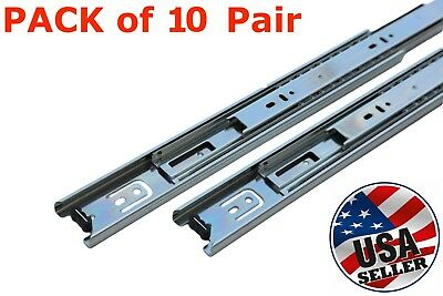 "10 Pairs Full Extension 100-lb Ball Bearing Drawer Slides 14""-22"""