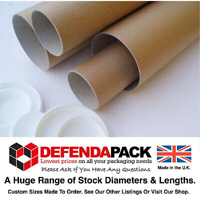 """100 A3 Cardboard POSTAL TUBES 13x2"""" 330x50mm STRONG Posting Prints Posters Maps"""