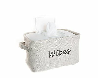 Dejaroo Baby Wipe Storage Bin - Nursery Organizer Caddy - Embroidered Grey Linen