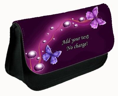 Personalised Butterfly Pencil Case / Make Up Bag - Any Text Added ~ Design #1