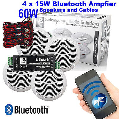 E-Audio 4 Speaker Bluetooth Bathroom Kitchen Home Commercial Ceiling Speaker Kit