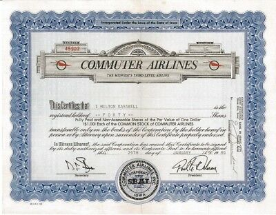 Commuter Airlines > 1969 Iowa old stock certificate share