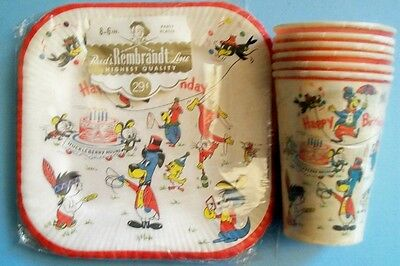 Vintage 1959 Hanna-Barbera Happy Birthday Plates and Cups in Original Packaging