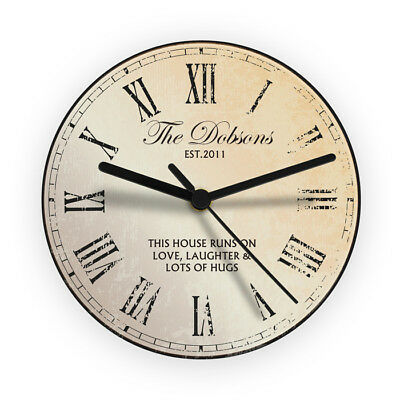 Personalised Rustic Glass Clock Gift Idea For New Home Weddings Birthday Kitchen