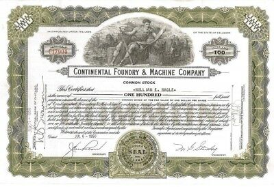 Continental Foundry & Machine Company > 1953 Steel old stock certificate share