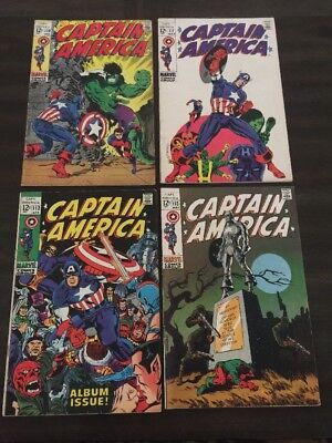 Captain America #110 - 113 Steranko Art Lot Of 4 Marvel Comics Vg+