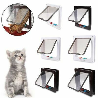 2 Colors Frame 4 Way Locking Lockable Puppy Kitten Cat Dog Flap Pet Door S M L