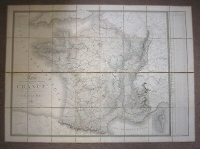 Carte Physique, Administrative et Routiere de la France, Antique Engraved Map