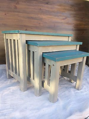 Shabby Chic VINTAGE Retro SET OF 3 NEST OF TABLES SIDE TABLES