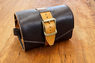 Luxurious Men's Leather Shave Roll with Travel Bag Handcrafted USA Made