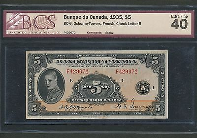 1935 Bank of Canada $5 FRENCH. BCS EF-40. BC-6. Book Value $2,000.
