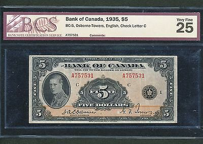 1935 $5 Bank of Canada. BCS VF-25. BC-5. Book Value $520