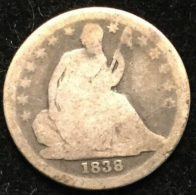 1838 10C Seated Liberty Dime (Stars)- AG#