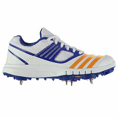adidas Howzat Cricket Spikes Shoes Juniors White/Or/Blue Trainers Sneakers Shoe