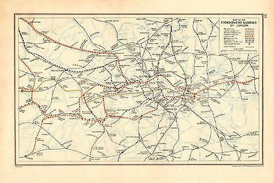1936 Large Scale London Map- Map Of Underground Railway