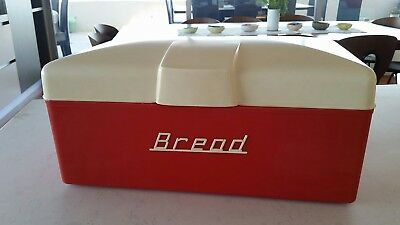 Ultra Rare Genuine Nally Ware Bread Box Canister  Red White Gay Ware Bread Bin