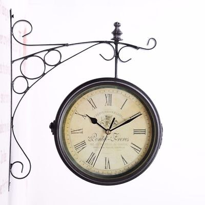 Outdoor Garden Paddington Station Wall Clock Double Sided Outside Bracket