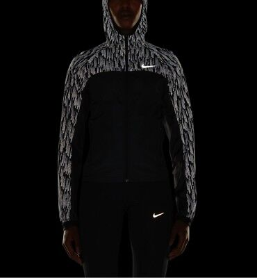 Women's Nike Shield Flash Running Jacket, 799885-010, Black Silver Reflect. S, M