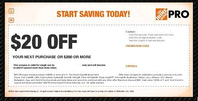 Home Depot $20 off $200 Coupon FAST DELIVERY In Store Only RELIABLE *LATEST*