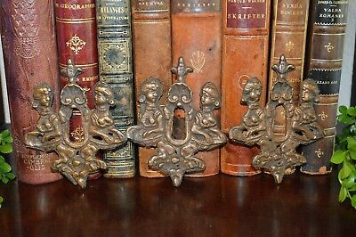 One Antique Coppered Bronze French Decorative Keyhole Escutcheon Figural Women