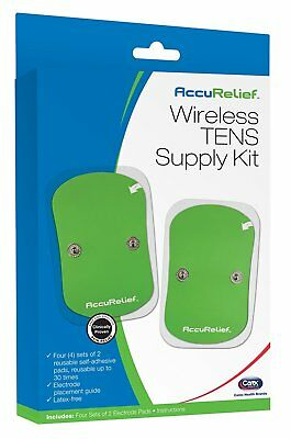 AccuRelief Wireless Remote Control TENS Supply Kit ~ (4) sets of 2 Reusable pads