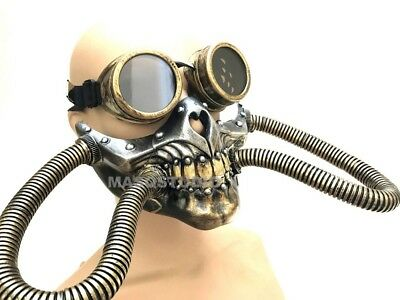 NEW Steampunk wasteland Halloween Costume Party Goggles Gas Mask with Hoses