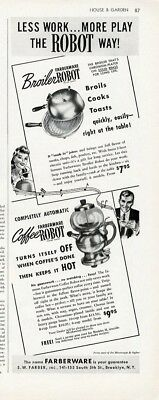 FARBERWARE Appliance Ad 1941 COFFEE ROBOT and BROILER Paper Advertisement