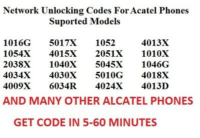 "Unlock Unlocking code Alcatel OneTouch Pixi 3 4 4"" 5"" 3 U5 Tesco Virgin EE O2"