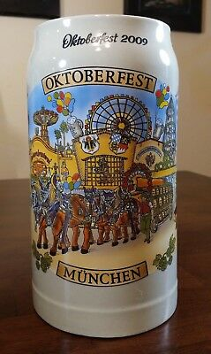 2009 OCTOBERFEST MUNCHEN German 1L Beer Stein Mug - GREAT SHAPE!